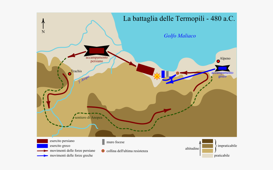 Map Of The Battle Of Thermopylae , Free Transparent Clipart.
