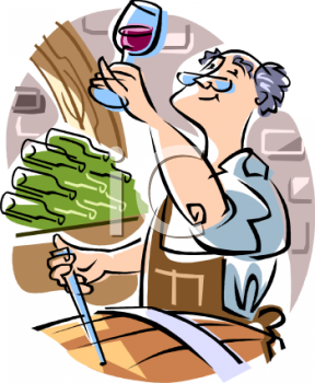 Royalty Free Clipart Image: Wine Maker Testing Wine.