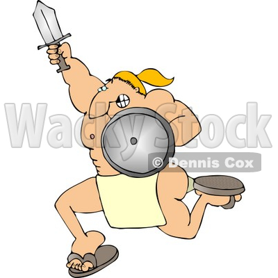 Warrior Charging to Battle with a Sword and Shield Clipart.