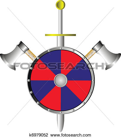 Clipart of Battle shield with axes and sword k6979052.