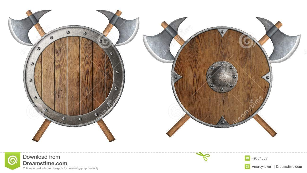 Round Wooden Knight Shield And Two Crossed Battle Stock Photo.