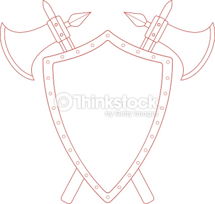 Two Crossed Axes And Steel Shield Emblem Contour Vector Art.