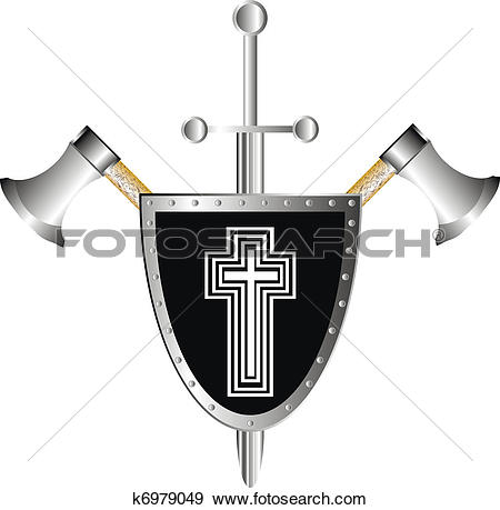 Clip Art of Battle shield with axes and sword k6979049.