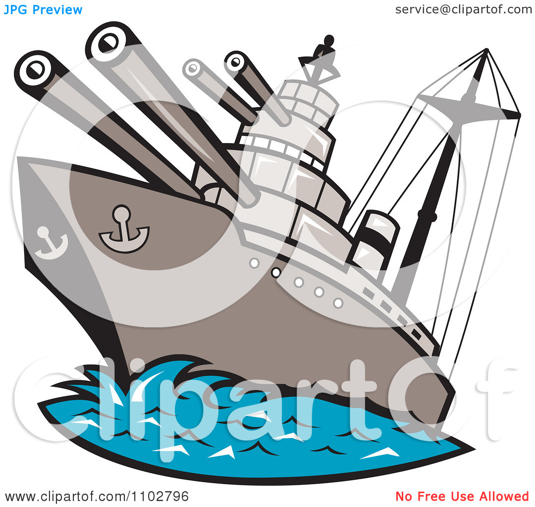 Clipart Battleship With Cannons At Sea.