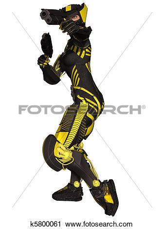 Clipart of Futuristic Battle Suit k5800061.