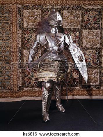 Stock Images of Full Length Suit Of Armor Medieval Sword Helmet.