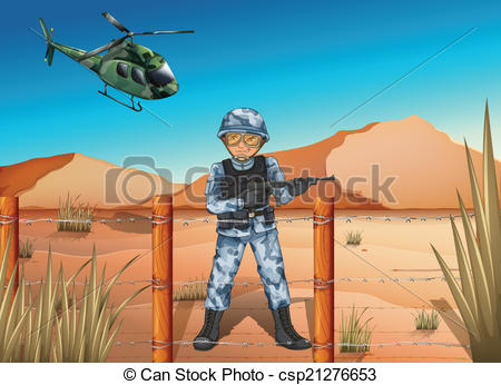 Clipart Vector of A brave soldier in the battlefield.