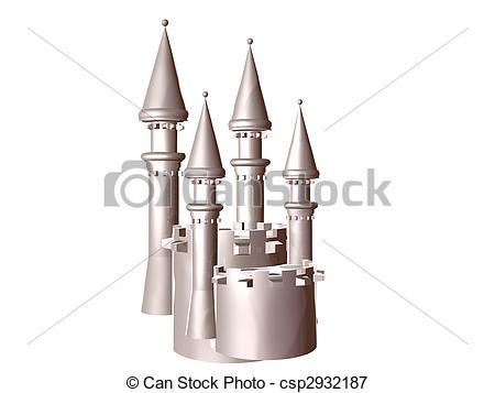 Stock Illustrations of Castle Battlements Silver.