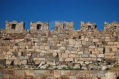 Castle Wall Battlements Stock Photo.