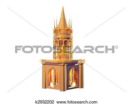 Clip Art of Castle Battlements Gold k2932202.