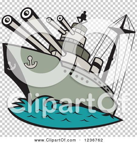 Clipart of a Cartoon WWII Naval Battleship.