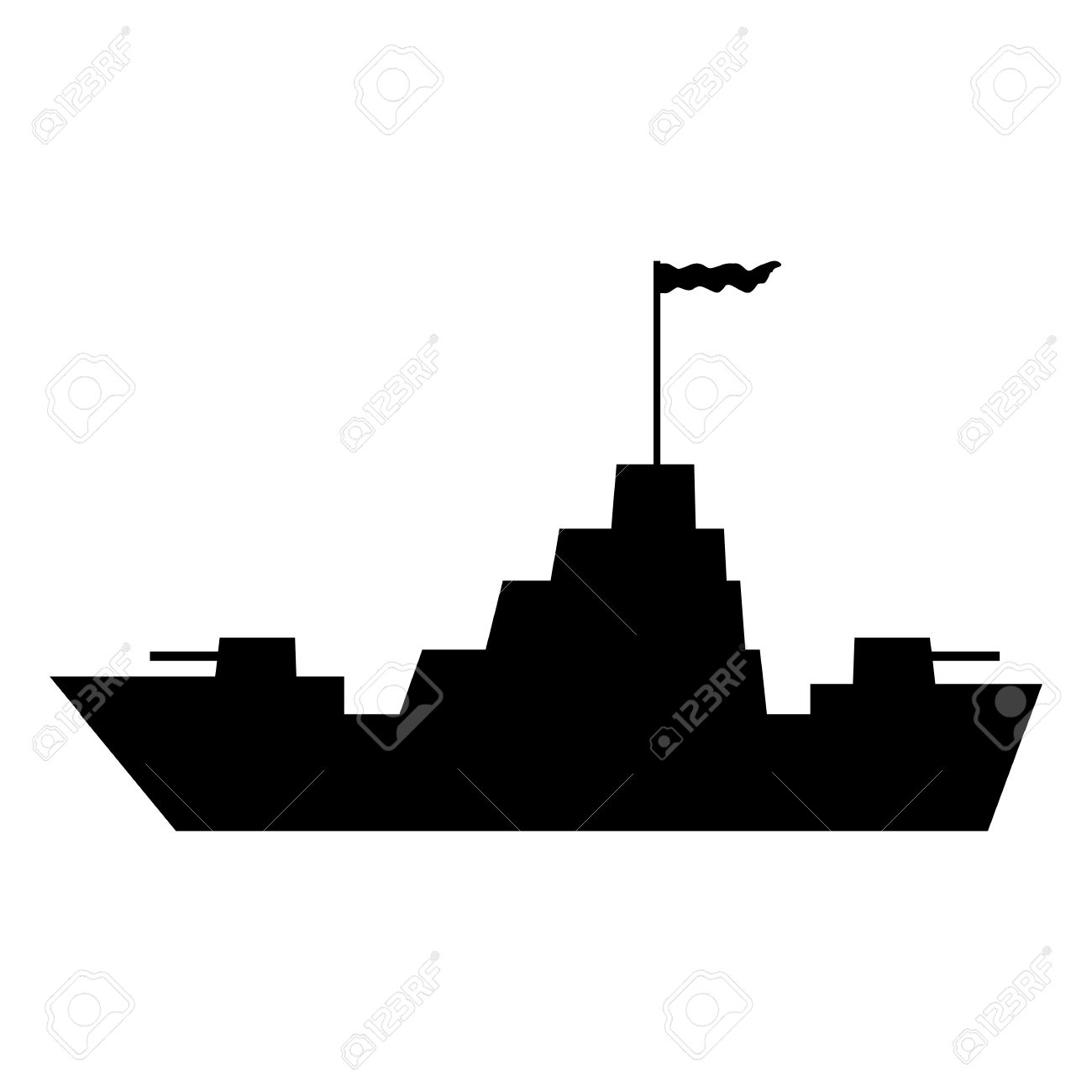 Warship Icon On White Background. Vector Illustration. Royalty.
