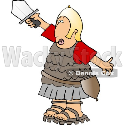 Roman Army Soldier Battling with a Ball and Chain Mace Weapon.