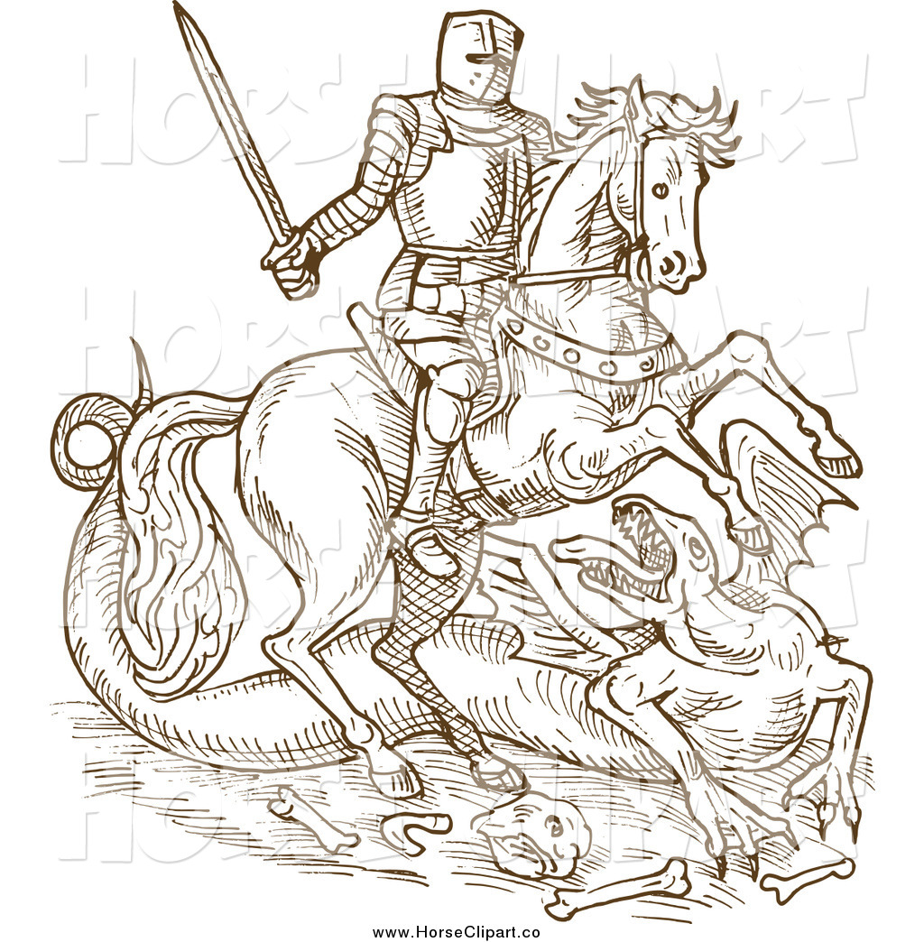 Clip Art of a Sketched Knight on His Steed, Battling a Dragon by.