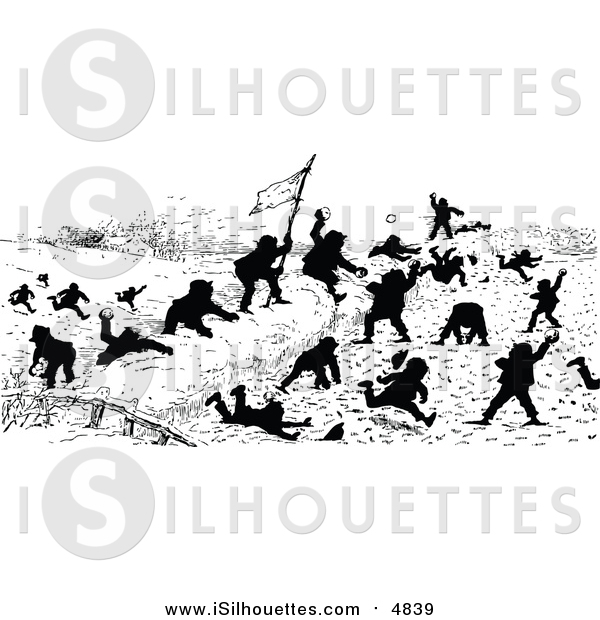 Clipart of Silhouetted Boys Battling with Snowballs by Prawny.