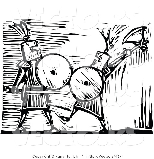 Vector of Knights Battling Each Other.