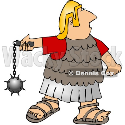 Army Soldier Battling with a Ball and Chain Mace Weapon Clipart.