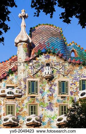 Stock Photo of The exterior of Casa Batllo in Barcelon, Spain.