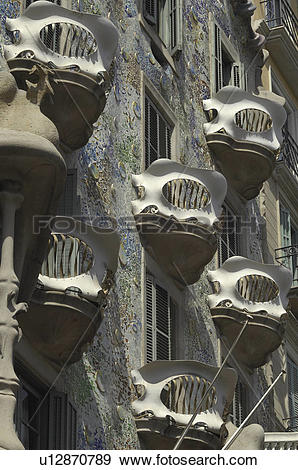 Stock Photograph of house, combines, gaudi, building, batllo.