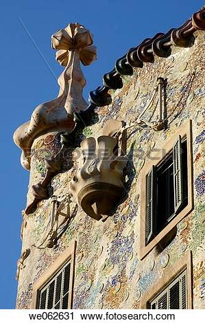 Stock Photography of Detail of Batllo House by Gaudi, Barcelona.