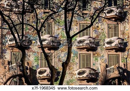 Stock Image of Casa Batllo (Batllo House) by Antonio Gaudi.