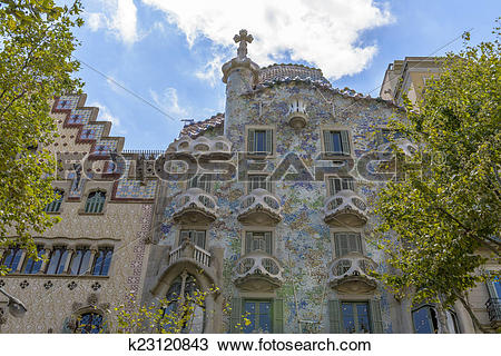 Stock Photo of Casa Batllo, Eixample District, Barcelona, Spain.
