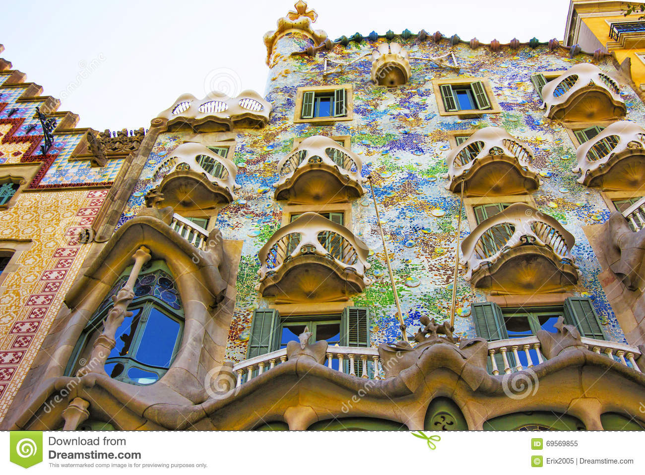 Balconies Of Casa Batllo Building In Barcelona In Spain Editorial.
