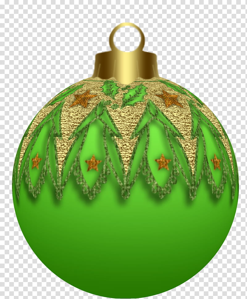 Christmas, green and brown Christmas bauble transparent.