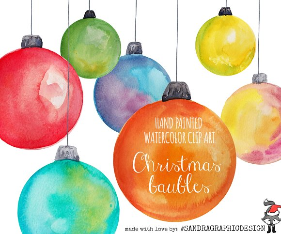 Christmas baubles clip art ~ Illustrations on Creative Market.