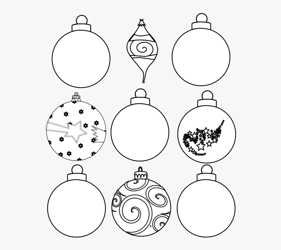 Transparent Christmas Ornament Clipart Black And White.