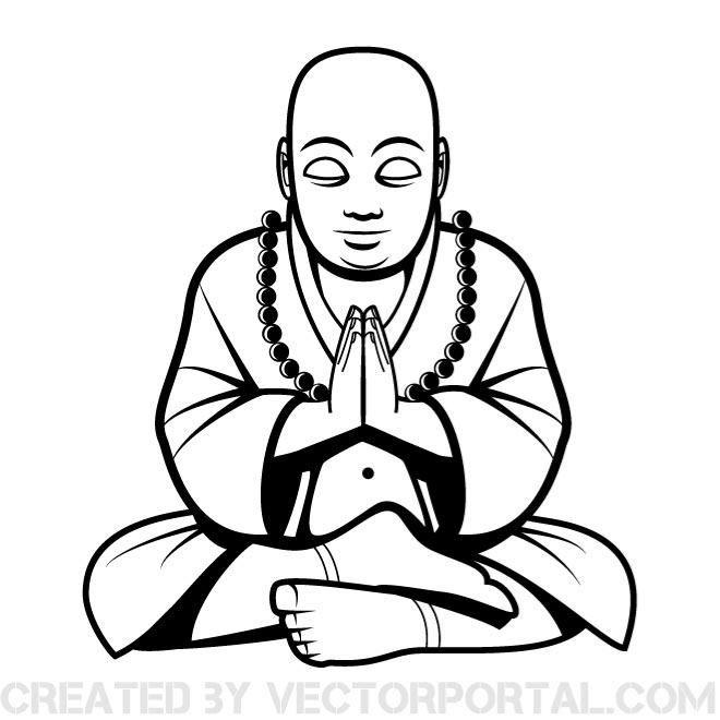 Buddha vector clip art..