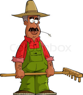 Friendly farmer with pitchfork.