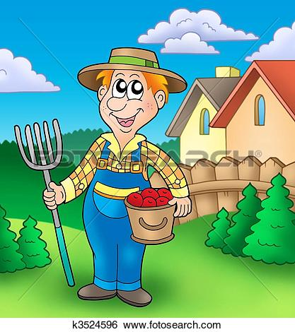 Clipart of Cartoon farmer on tractor k9390772.