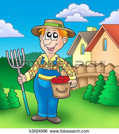 Clipart of Cartoon farmer on tractor k9390772.