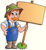 Clipart of Farmer in Cartoon k6511415.