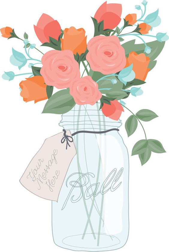Mason Jar Bouquet Digital Clip Art.