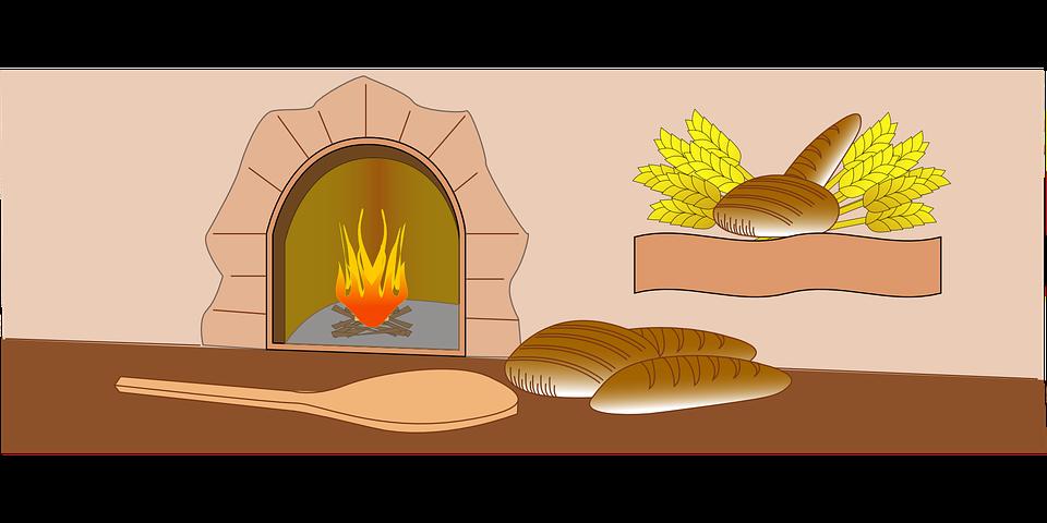 Kostenlose Vektorgrafik: Baker, Ofen, Feuer, Brot, Bäckerei.