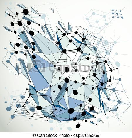Clip Art Vector of 3d vector Bauhaus abstract blue background made.
