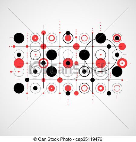 Vector Clip Art of Bauhaus art composition, decorative modular red.