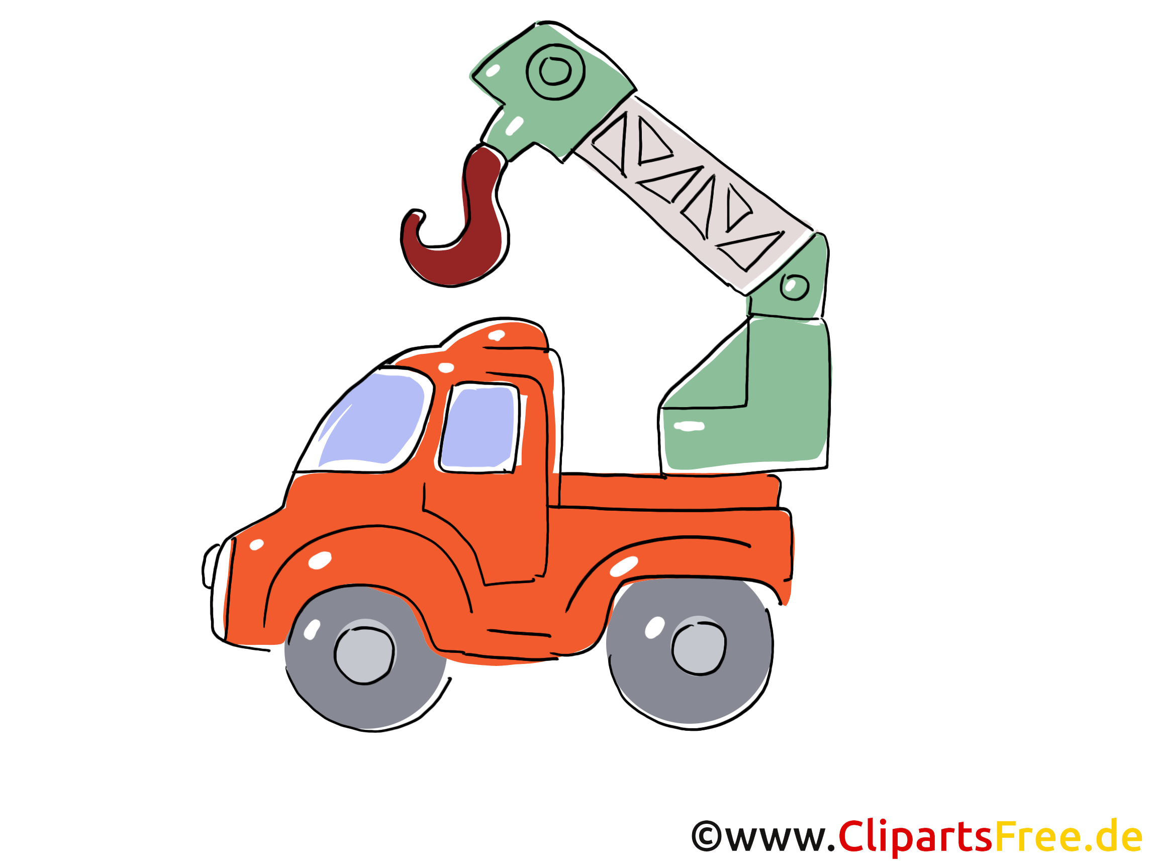 LKW mit Baukran Clipart, Bild, Cartoon, Comic, Grafik.