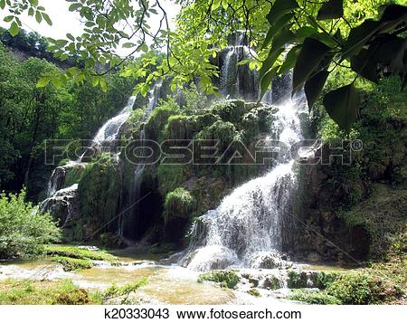 Stock Photo of Waterfall and basins of Baume les messieurs in.