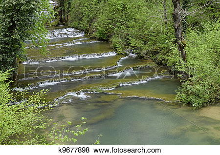 Pictures of Waterfall and basins of Baume les messieurs in France.
