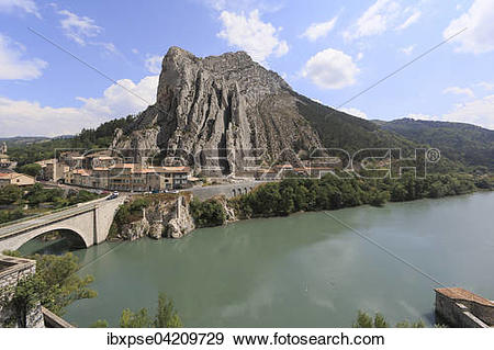 Stock Photograph of View of the Rocher de la Baume and the river.