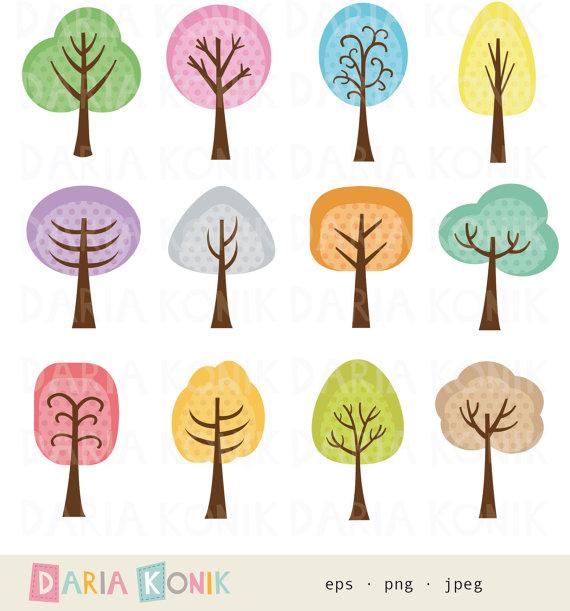 Bäume Clip Art Set.