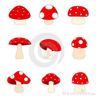Mushrooms In Field Clip Art 2 Stock Image.