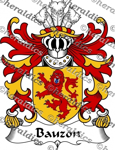 Bauzon Coat of Arms Bauzon Family Crest Instant Download.