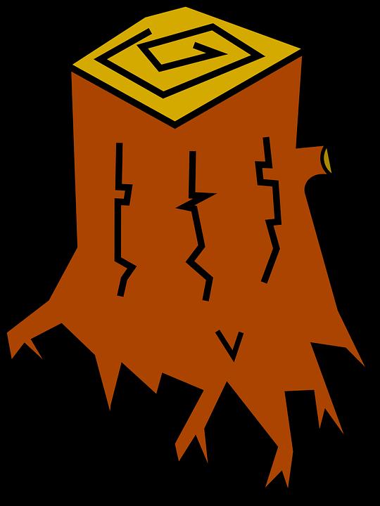 Kostenlose Vektorgrafik: Stumpf, Baum, Haken, Holz, Stamm.