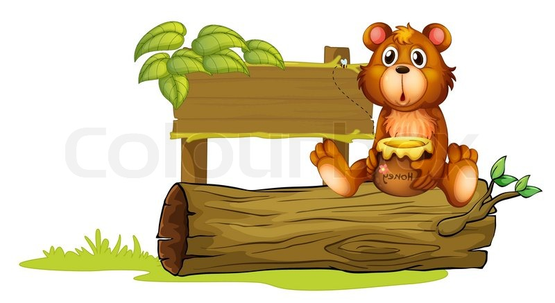 Ein Bär sitzt auf einem Baumstamm.
