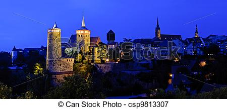 Picture of Panorama with Bautzen at night.