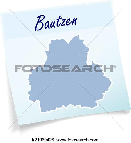 Clip Art of Map of bautzen as sticky note k21969426.